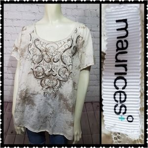 Maurices 2x embroidered lace casual top